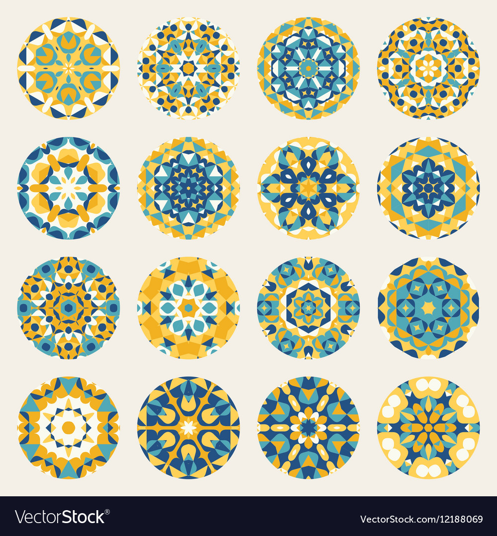 Set of Sixteen Round Blue Yellow Mandala