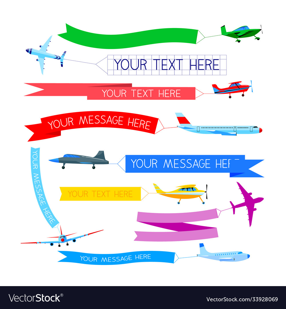 Set planes with banners airplanes or aircraft