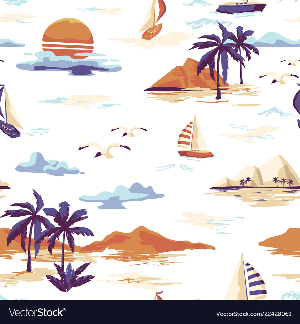 Vintage seamless island pattern landscape