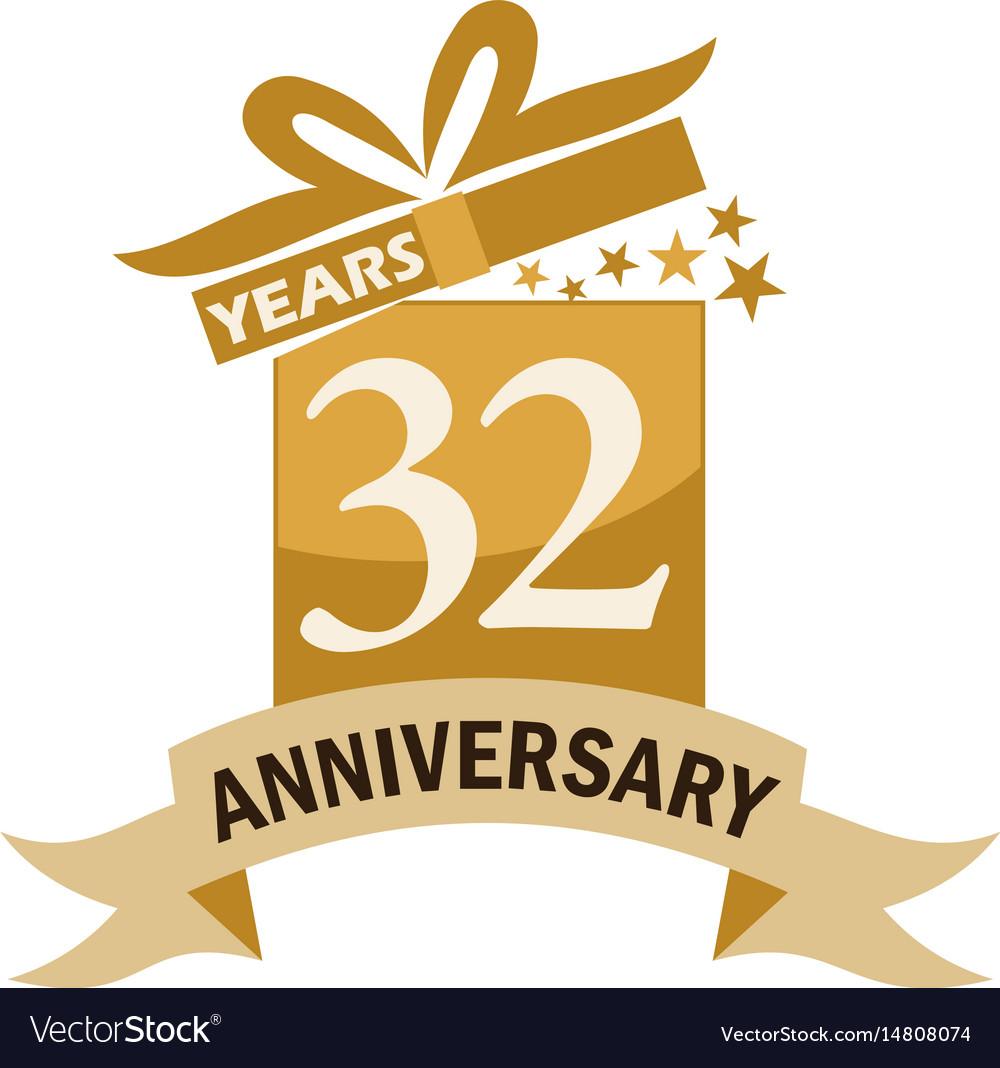 32 Years Gift Box Ribbon Anniversary Vector Image