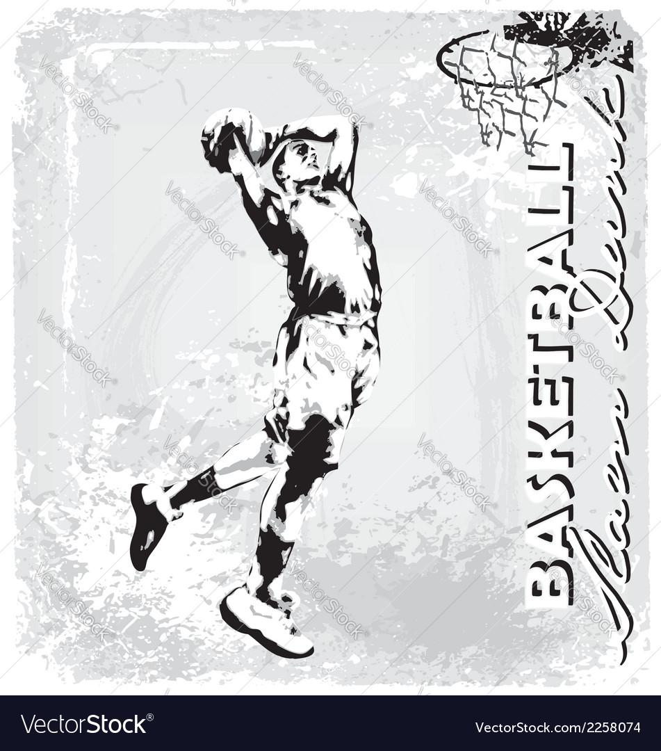 Basketball slam dunk vector image