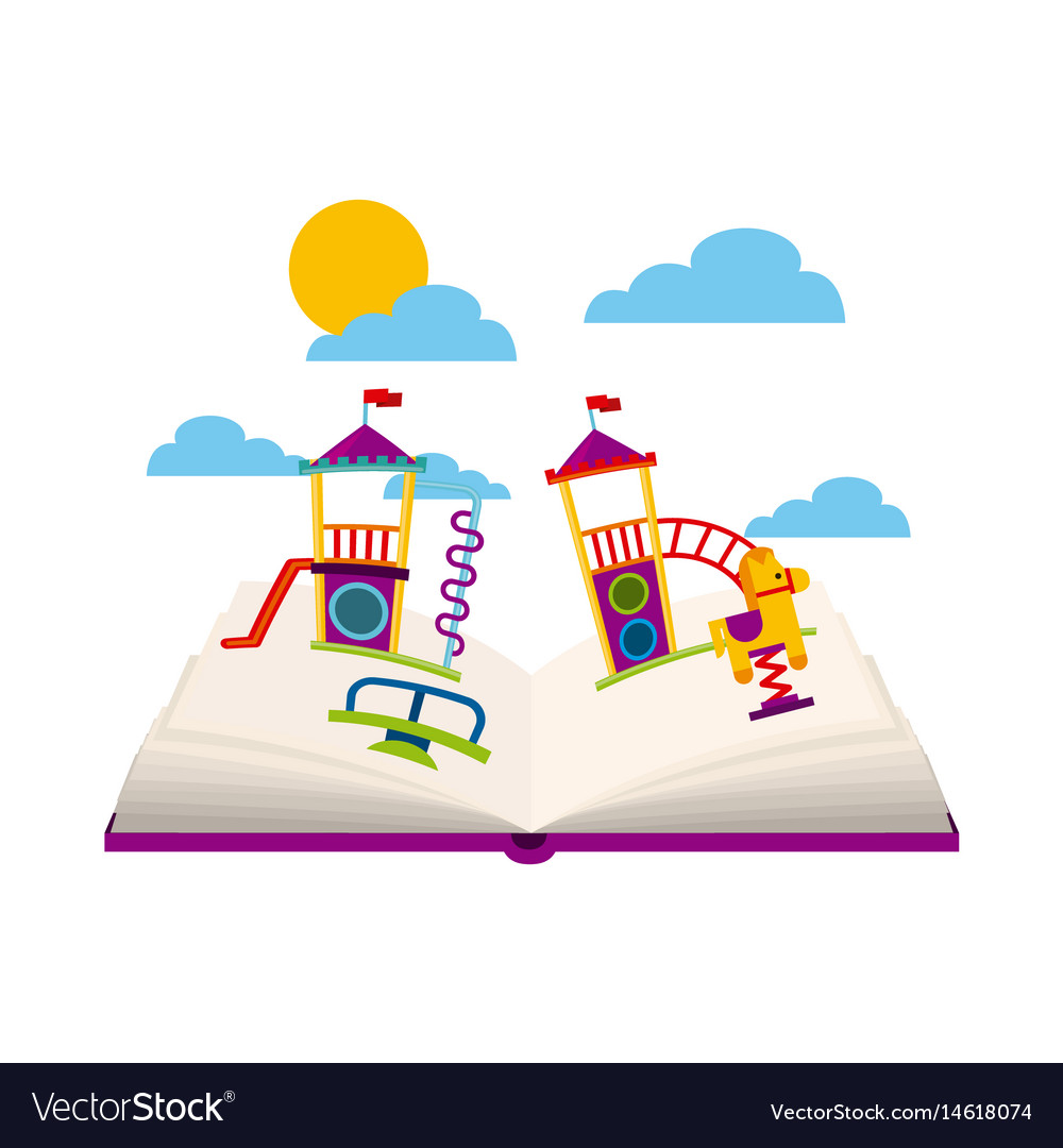 Beautiful children playground with books playing vector image