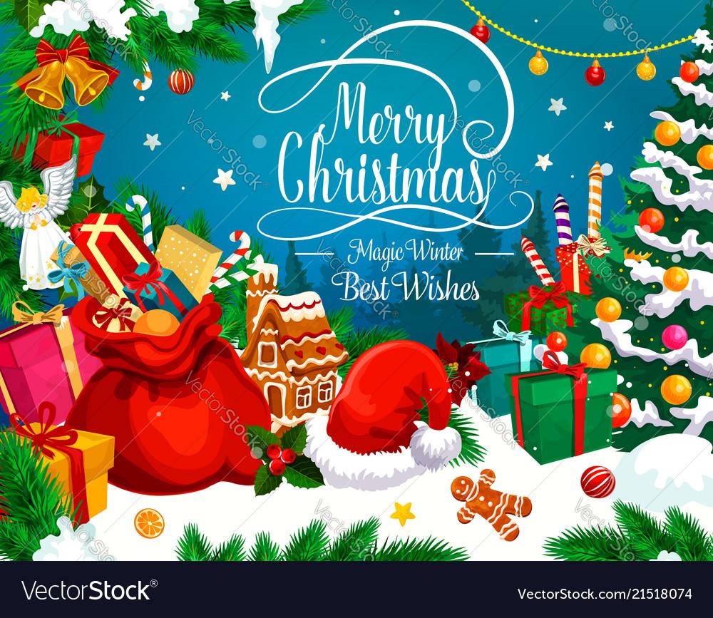 Christmas greeting card of xmas gift and santa hat christmas greeting card of xmas gift and santa hat vector image m4hsunfo