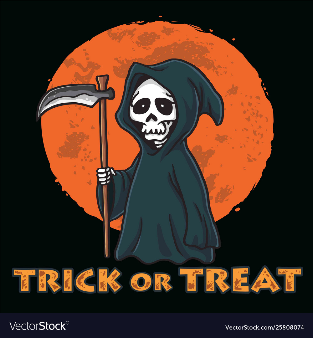 Grim reaper with moon background halloween card