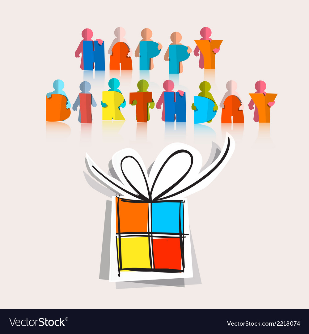 Happy Birthday with Paper Gift Box