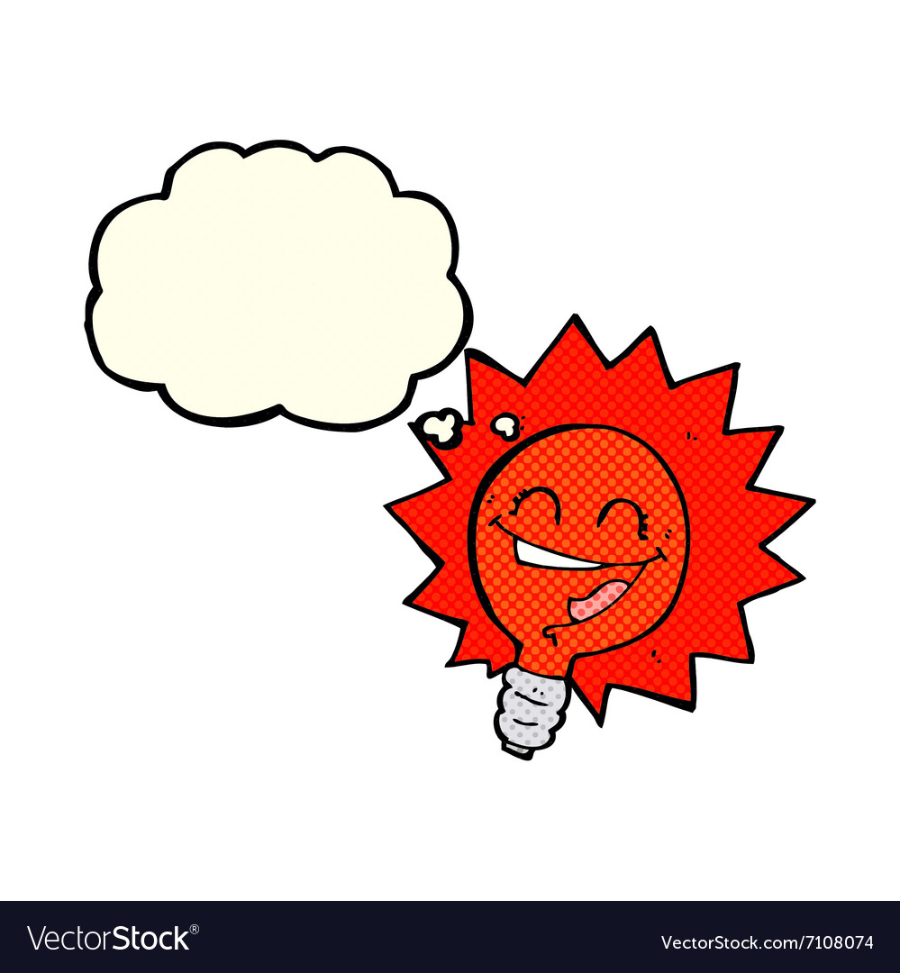 Flashing Red Light >> Happy Flashing Red Light Bulb Cartoon With Thought