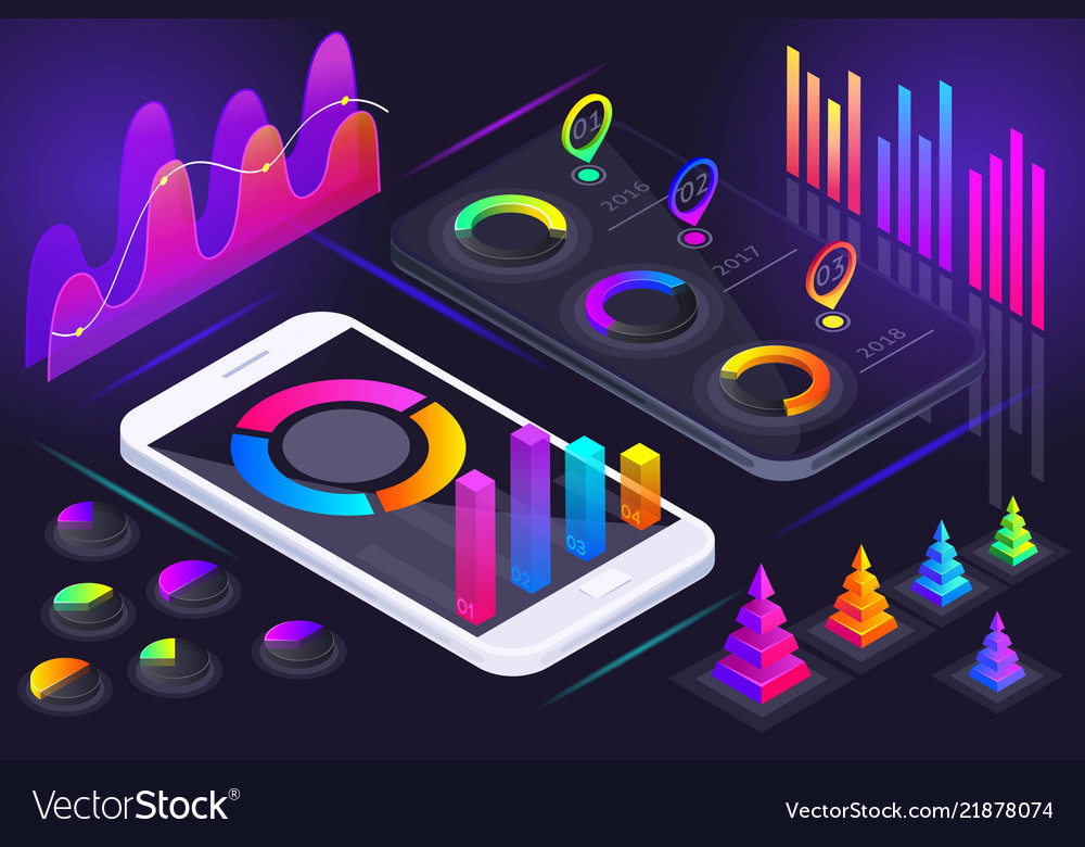 Isometric view of smartphone screen holographic