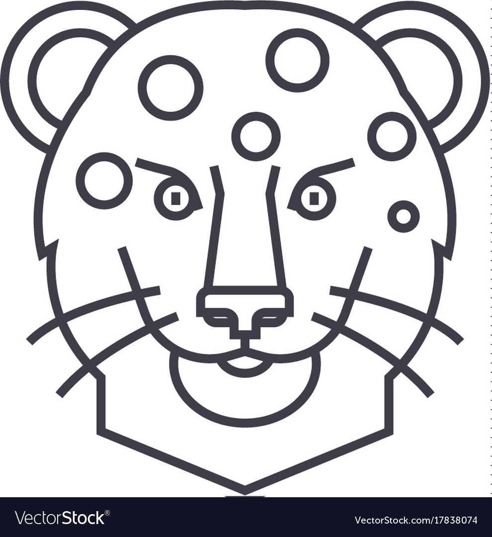 Leopard head line icon sign