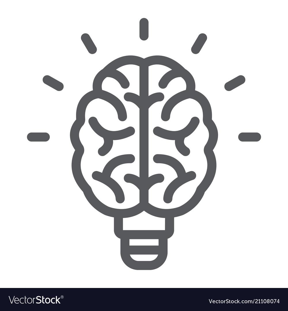 Light bulb brain line icon school and education