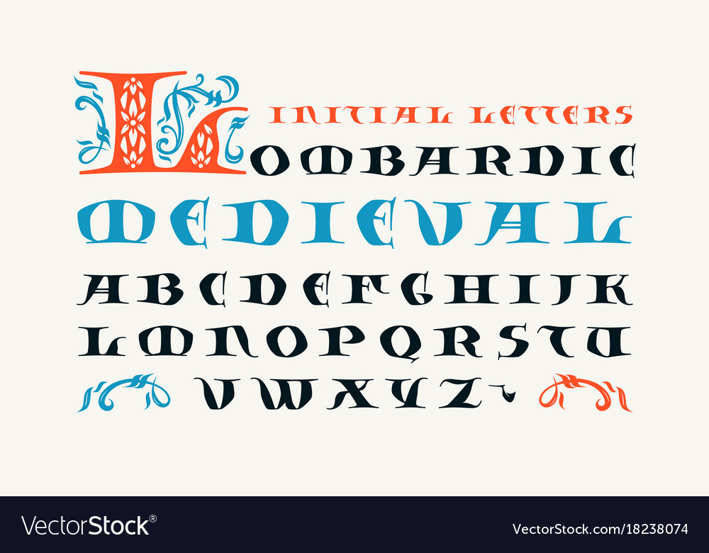 Lombardic medieval capital font