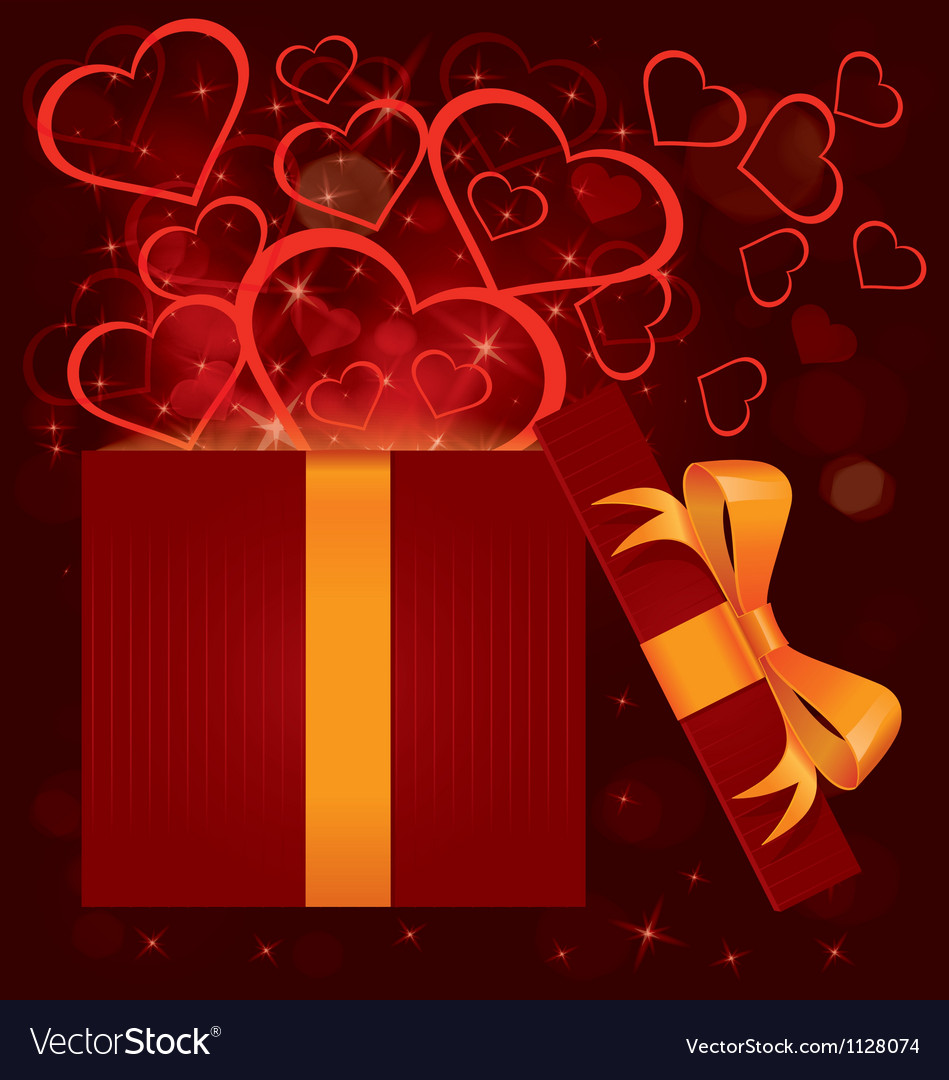 Magic light gift box hearts