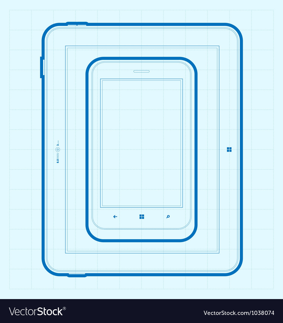Mobile Blueprint vector image