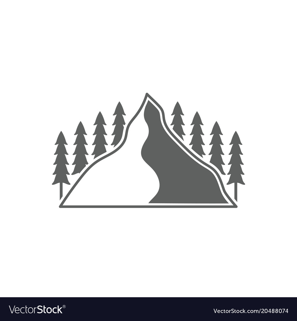 Monochrome emblem of mountain and forest