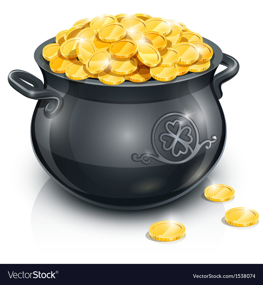Pot with gold coin for