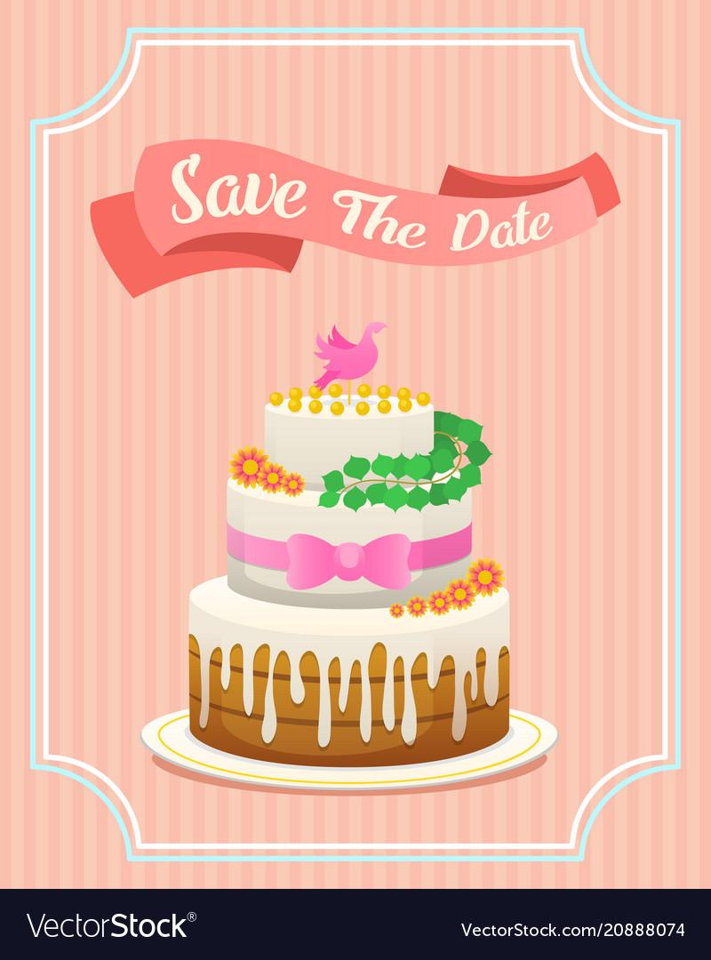 Wedding cake card valentines day newlyweds