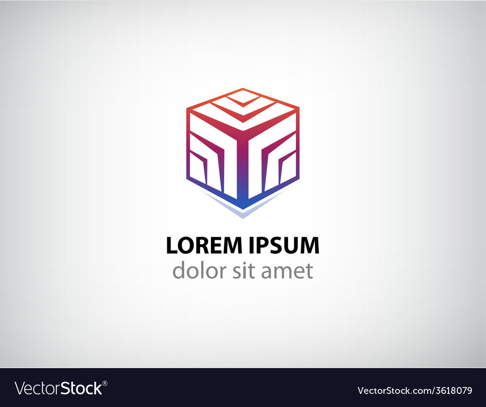 Abstract 3d cube logo vector image