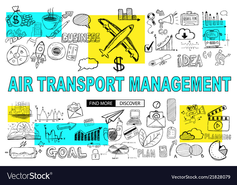 Air transport management concept with doodle