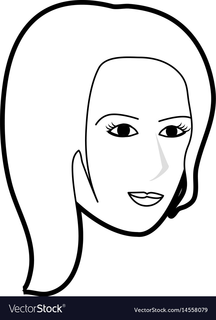 Black silhouette cartoon side profile face woman