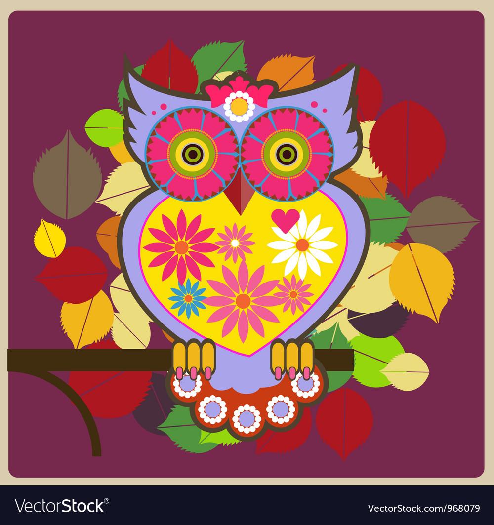 Cartoon owl pink queen Royalty Free Vector Image