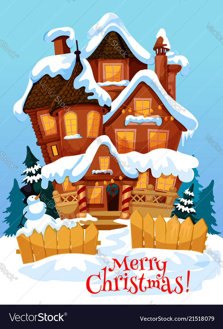 Christmas house with xmas decoration greeting card