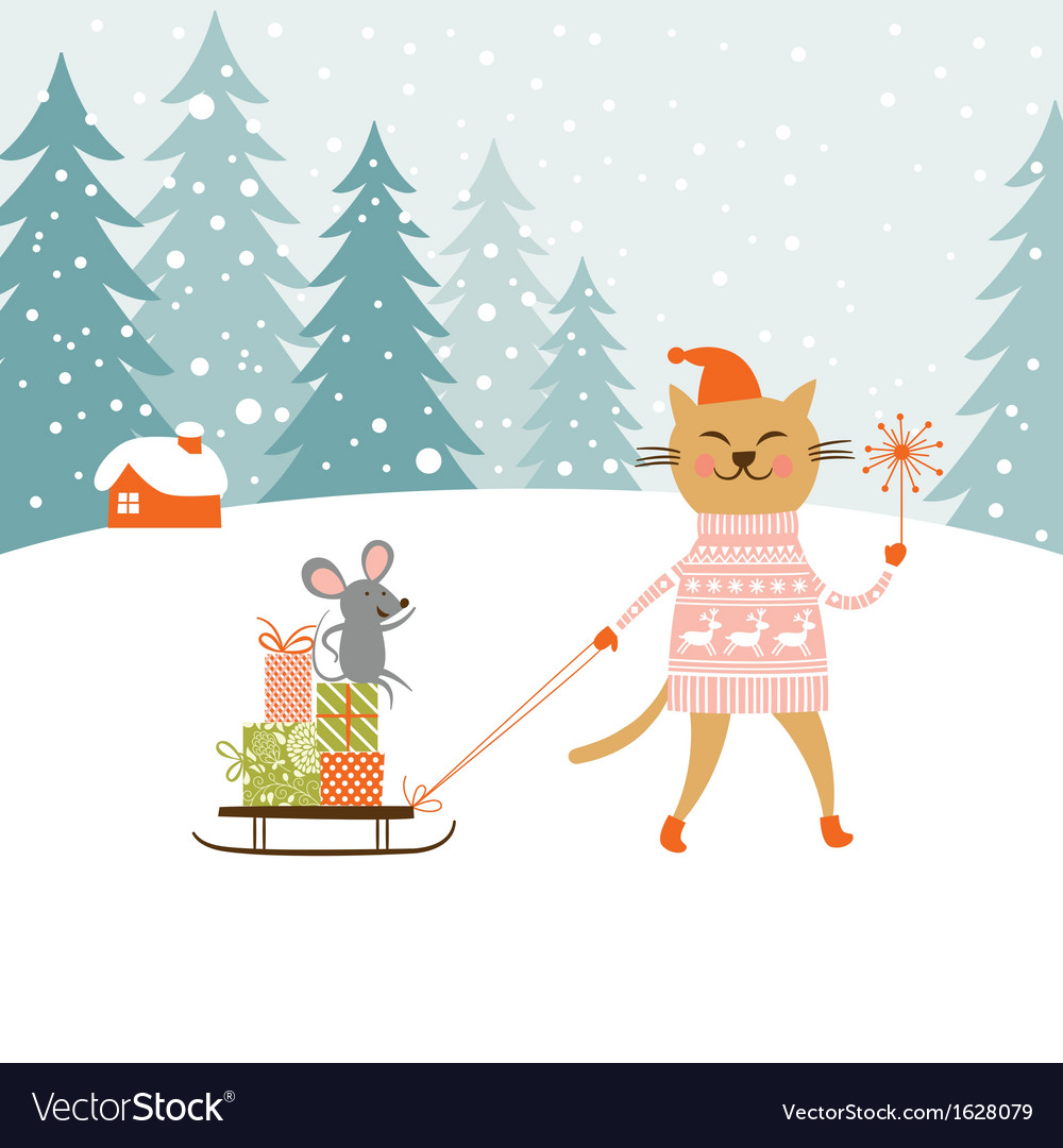 Cute kitty carries the sledge with gifts and littl