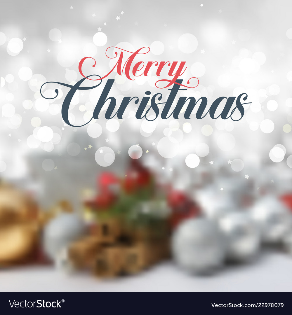 Decorative christmas text on defocussed background