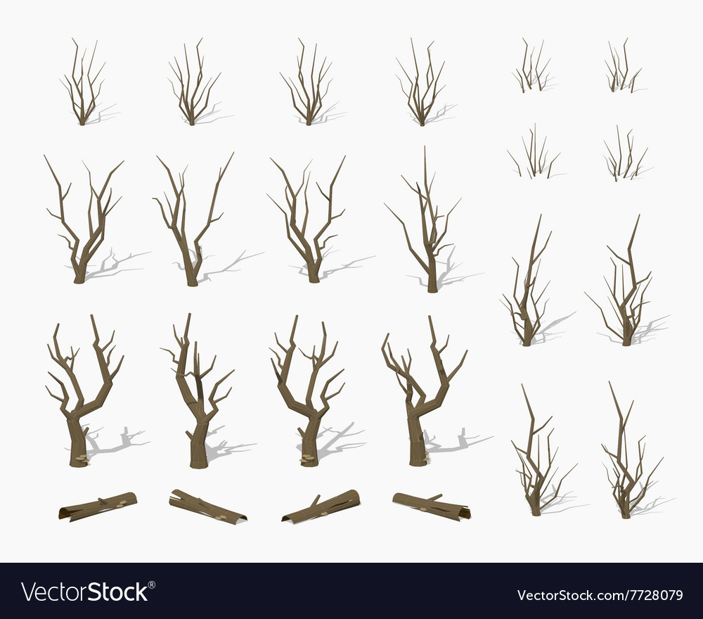 Dried dead trees vector image