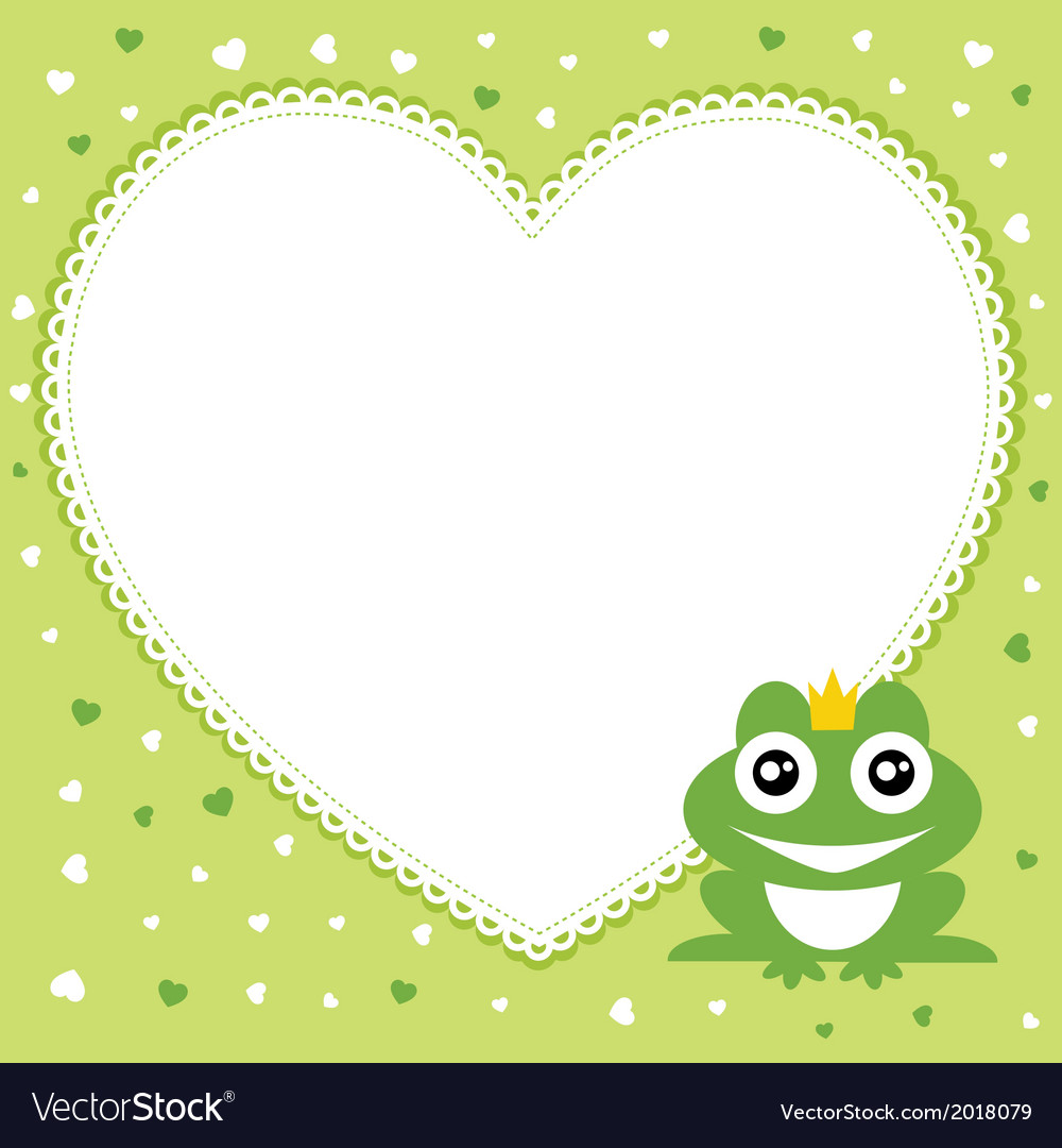 Frog prince with heart shape frame Royalty Free Vector Image