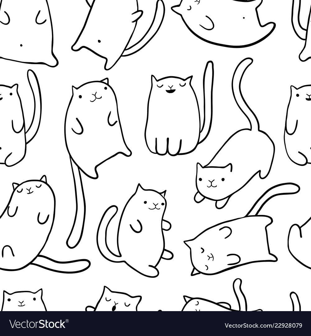 Hand Draw Funny Cats Royalty Free Vector Image