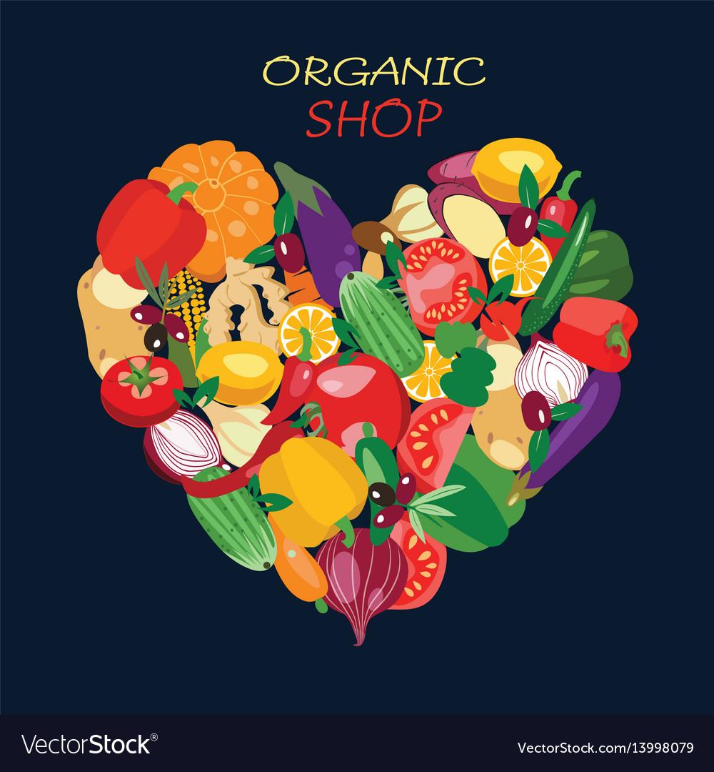 Heart shape by organic fresh healthy vegetables