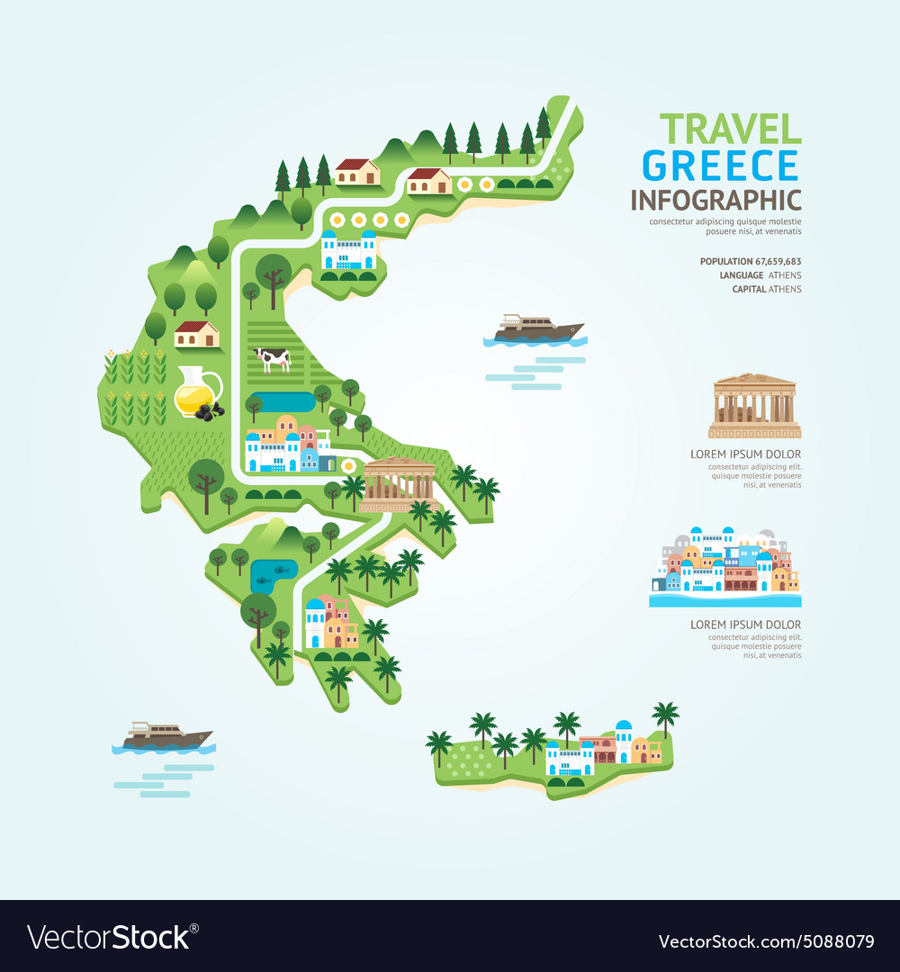 Country Of Greece Map.Infographic Travel And Landmark Greece Map Vector Image On Vectorstock