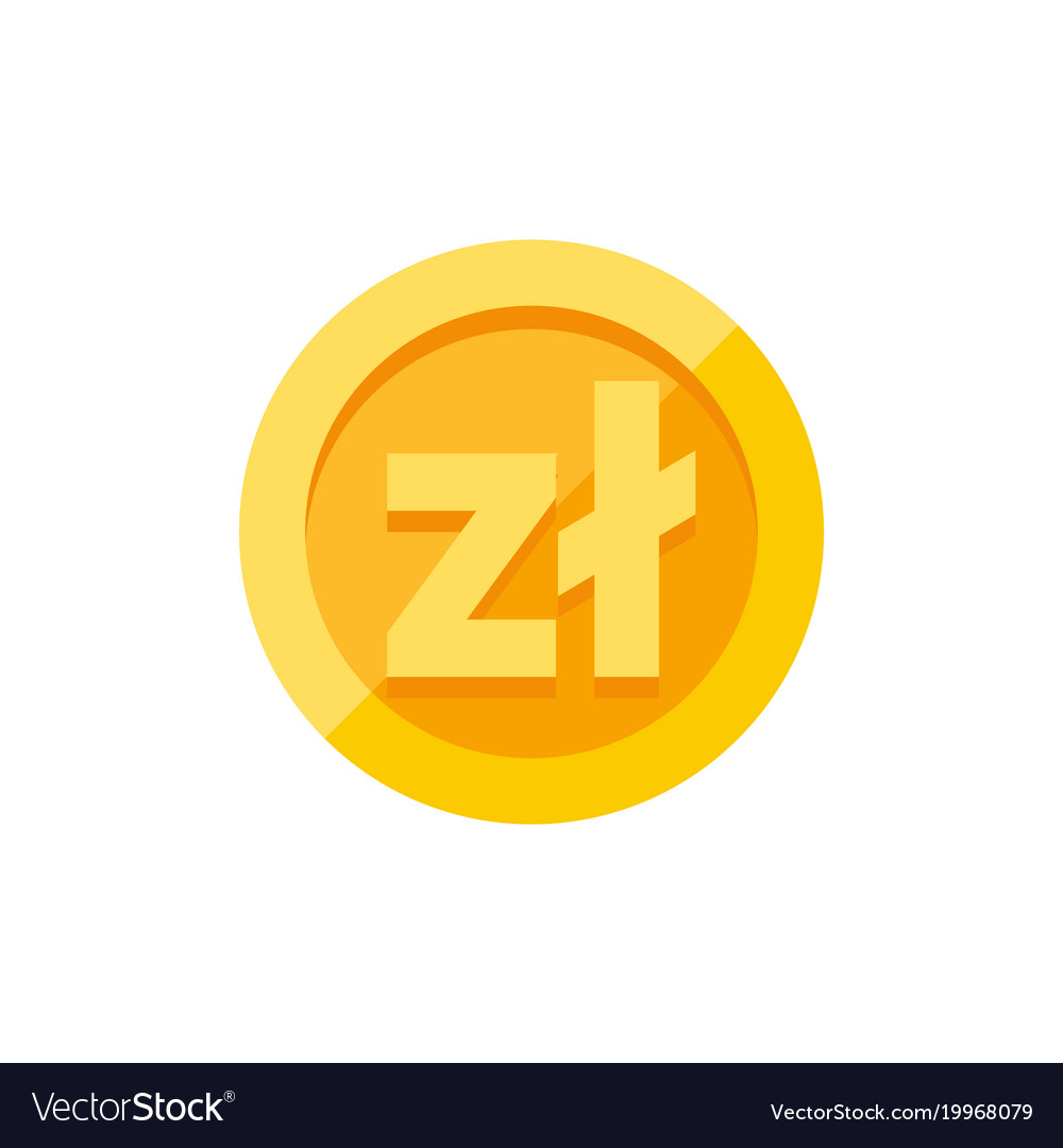 Polish Zloty Currency Symbol On Gold Coin Flat Vector Image