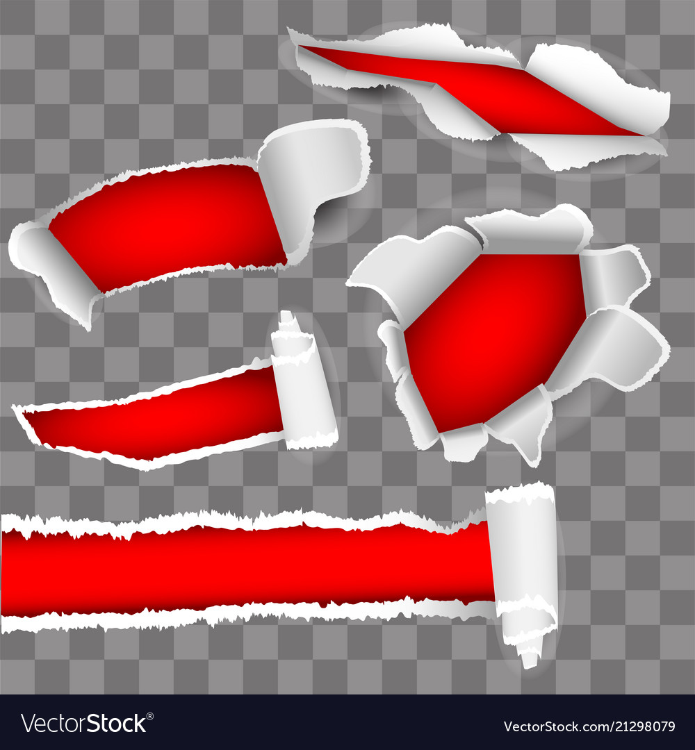 Set for white paper torn hole red inside