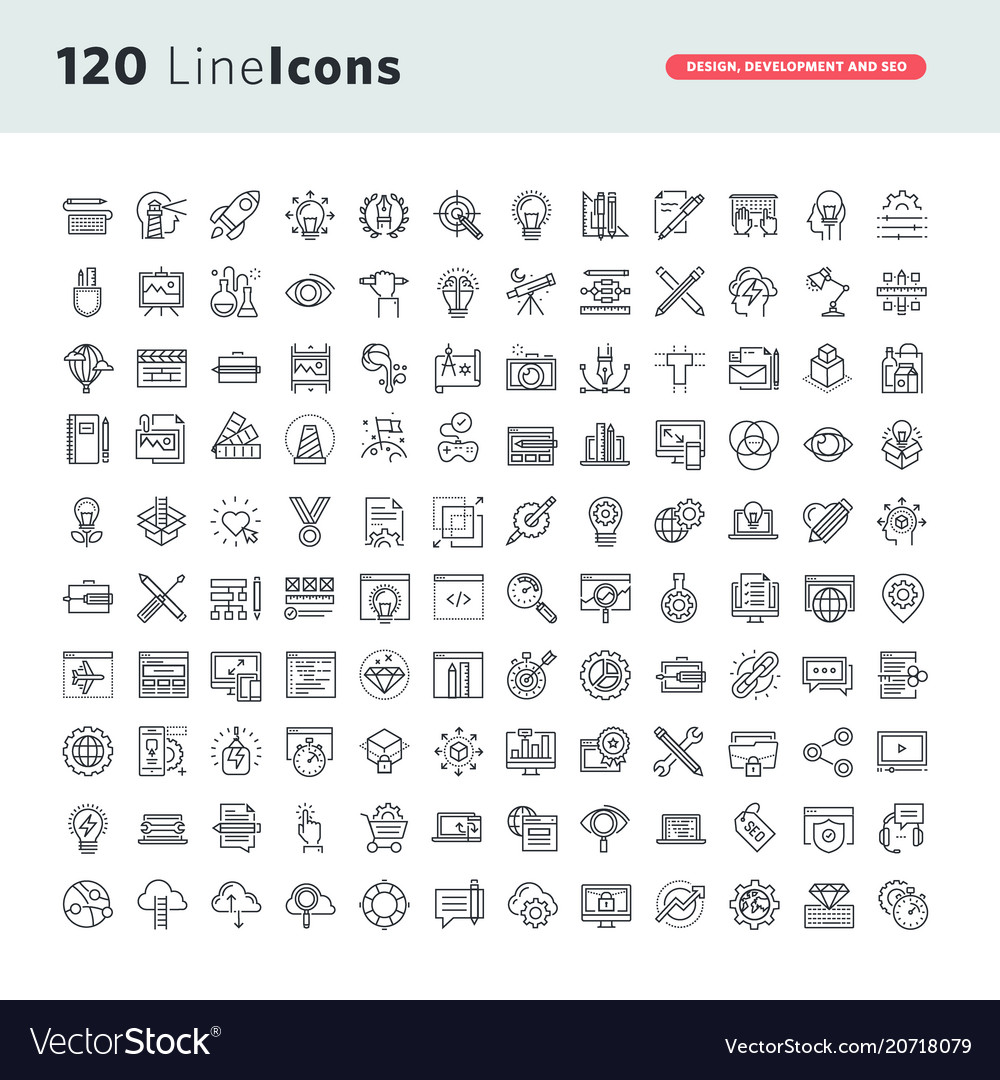 Set premium thin line icons