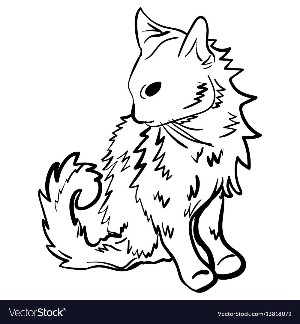 Sketch tattoo kitten