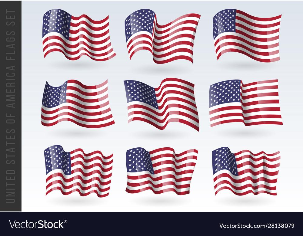 Usa wavy flags set united states patriotic