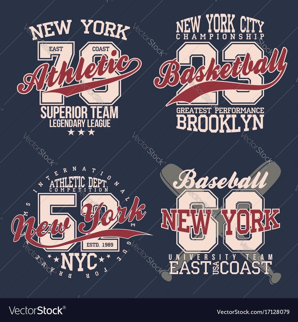 Vintage labels set athletic sport typography for
