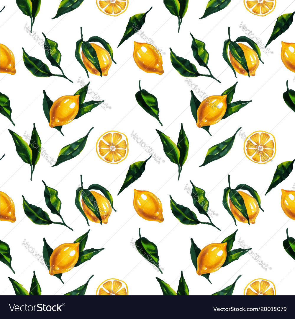 Watercolor seamless pattern with lemon and leaves