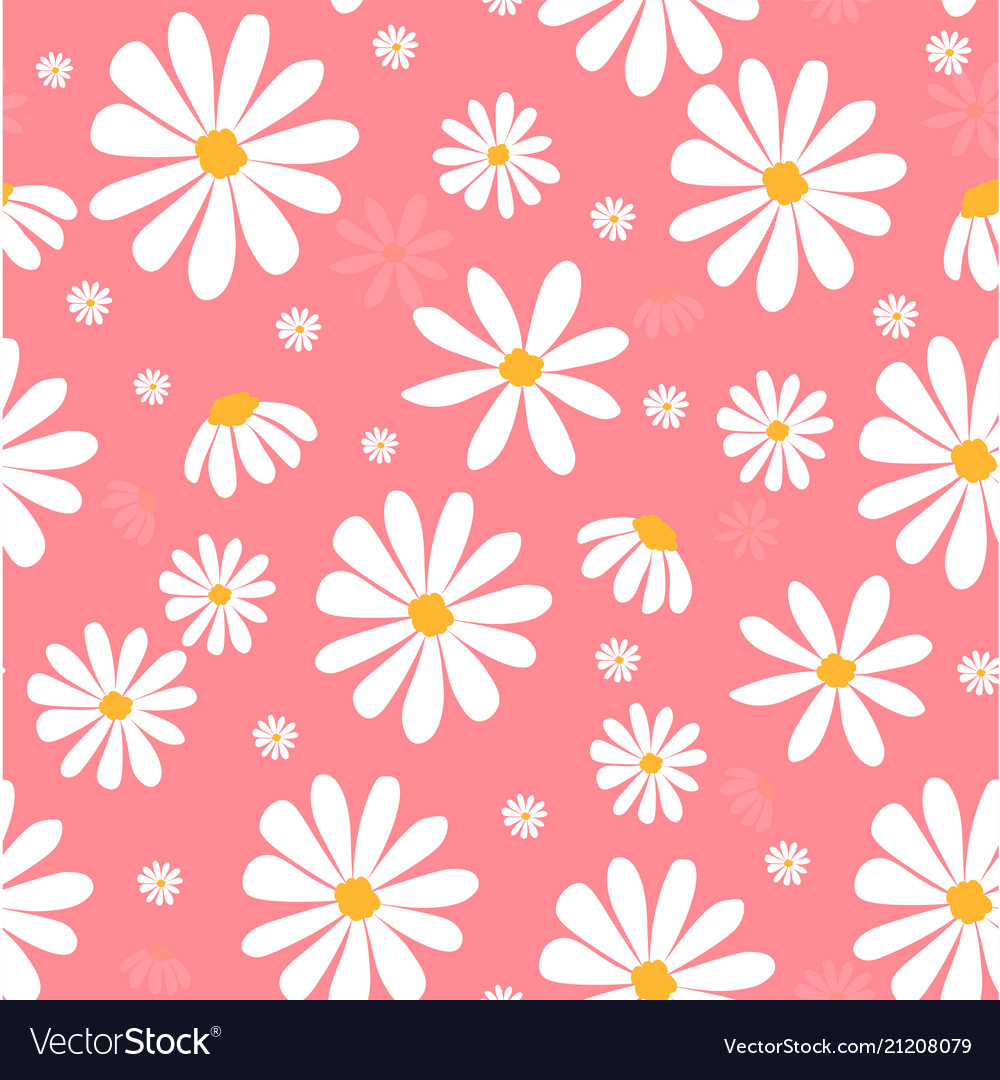White daisy flowers on pink pastel pattern seamles white daisy flowers on pink pastel pattern seamles vector image izmirmasajfo