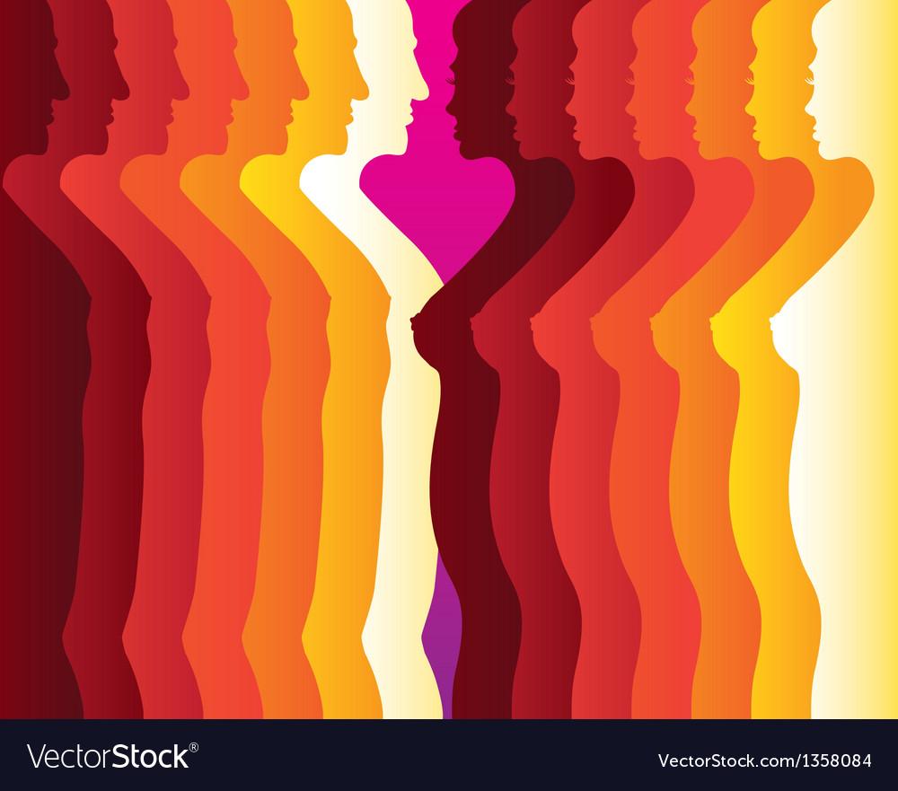 Abstract Men women silhouette vector image