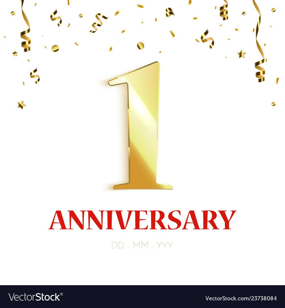 Anniversary background design with gold confetti