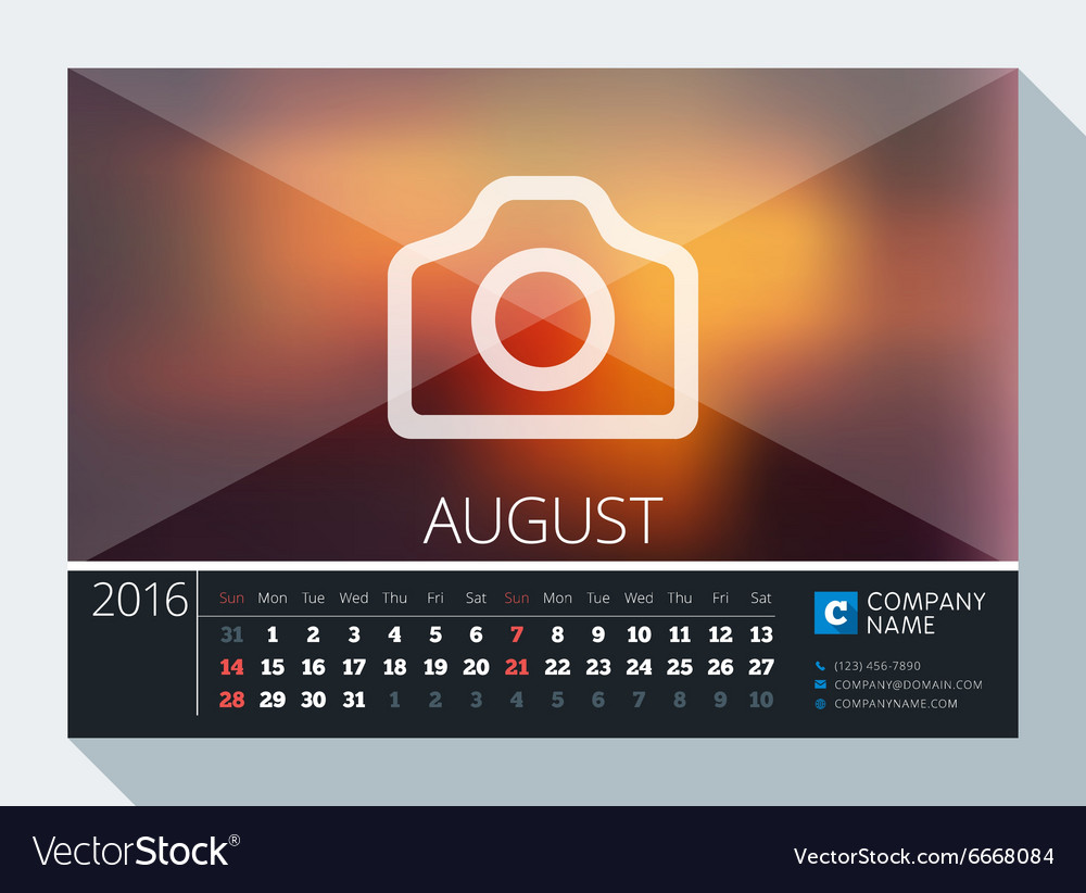 august 2016 stationery design print template desk vector image