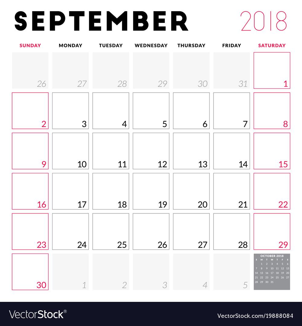 calendar planner for september 2018 week starts vector image