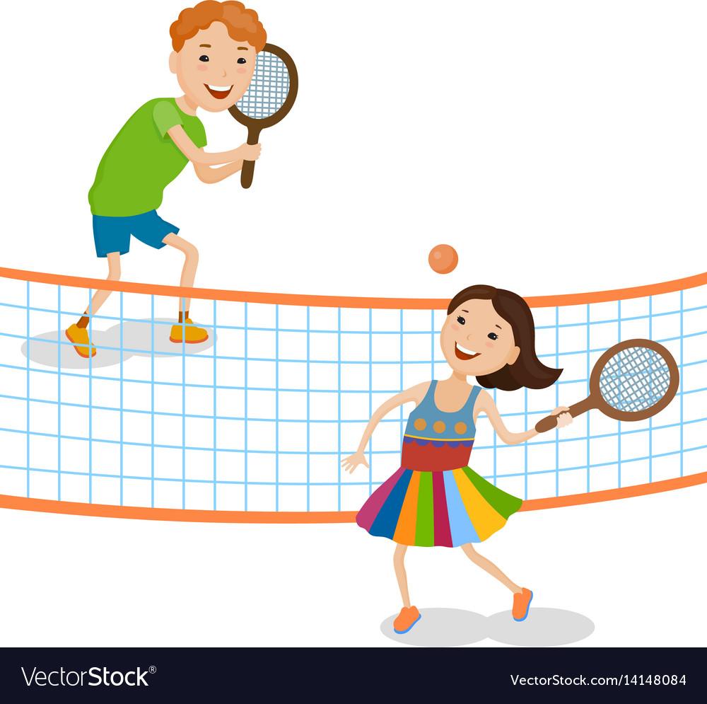 Children playing tennis vector image