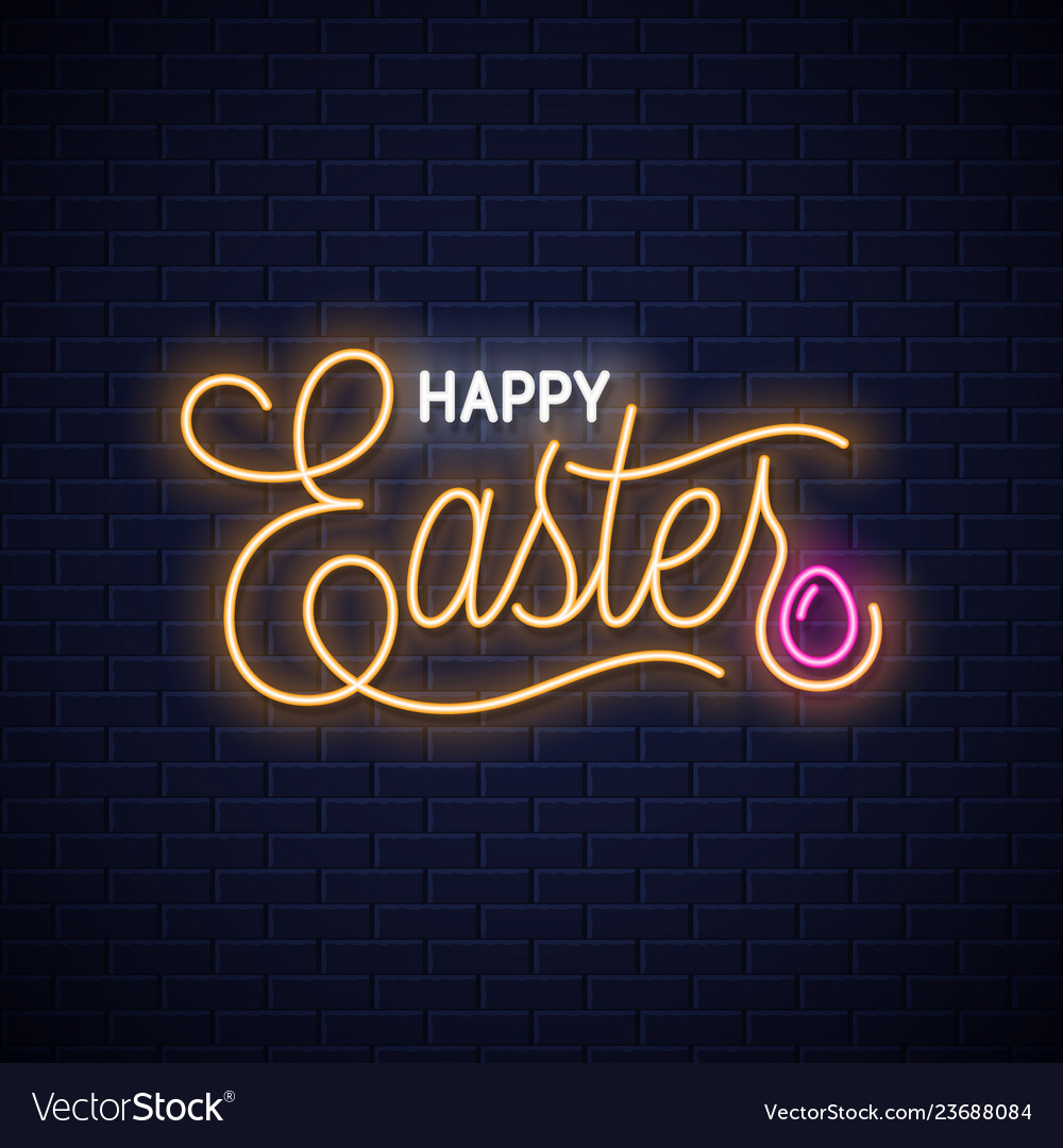 Easter neon vintage lettering on wall background