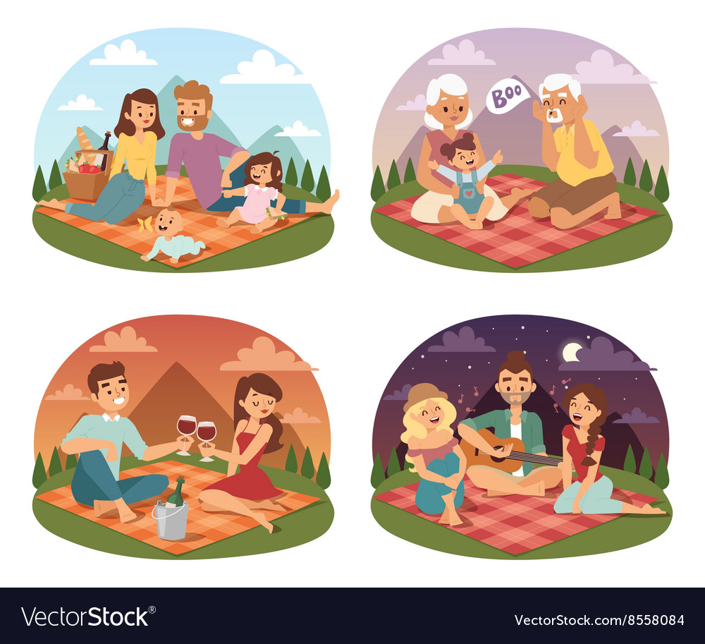 Family picnicking summer happy lifestyle park vector image