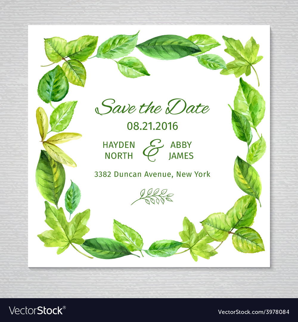 Invitation to the wedding Frame of watercolor