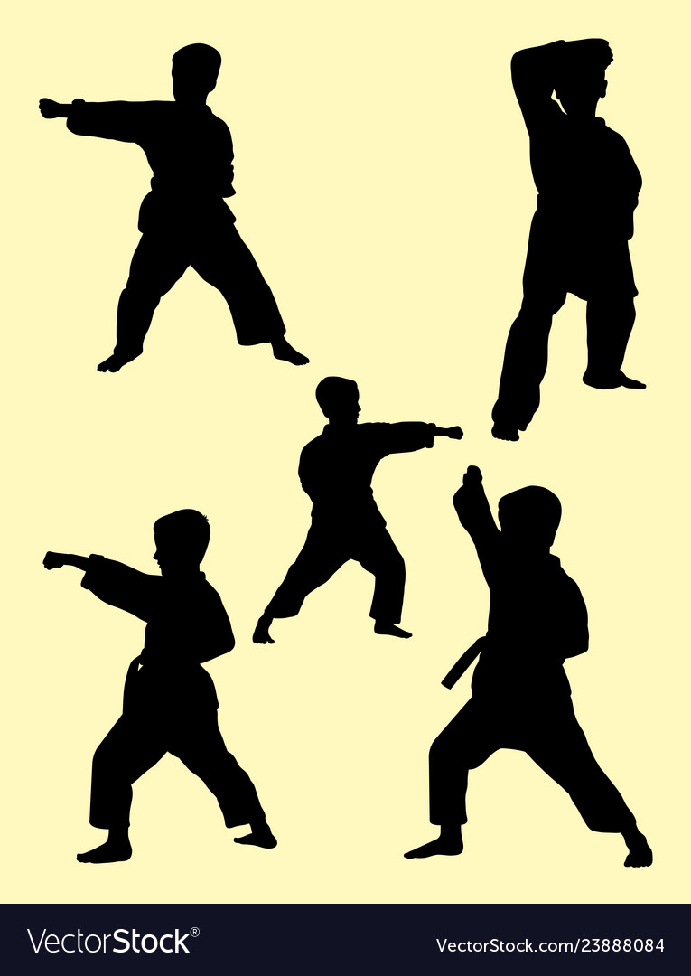 Karate kids silhouette