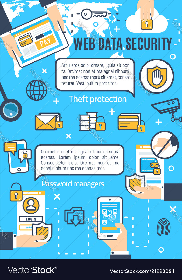 Poster of web data and internet security Vector Image