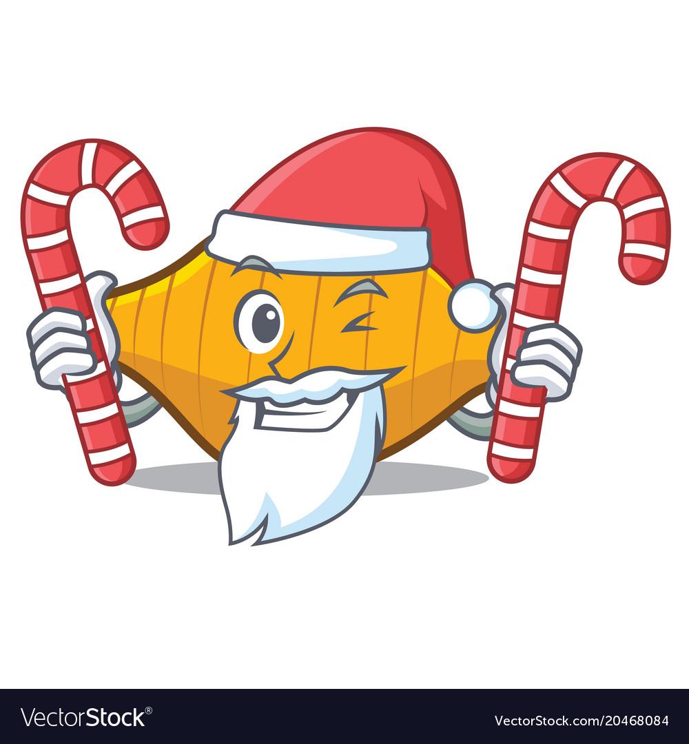 Santa with candy conchiglie pasta mascot cartoon